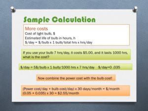 light bulb calculation total costs
