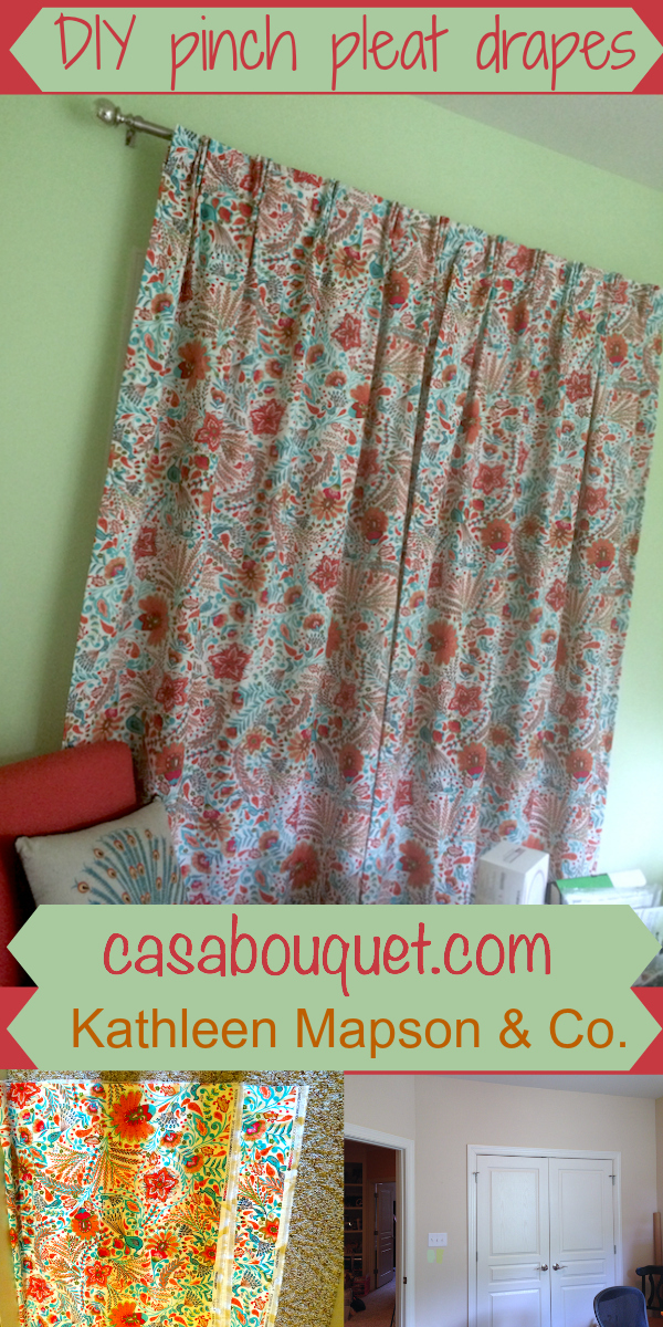 "Drapes give softness and allow more room in the office. If you have a sewing machine and would like to try making fabric items for your home, check out my ""Home-making""posts."