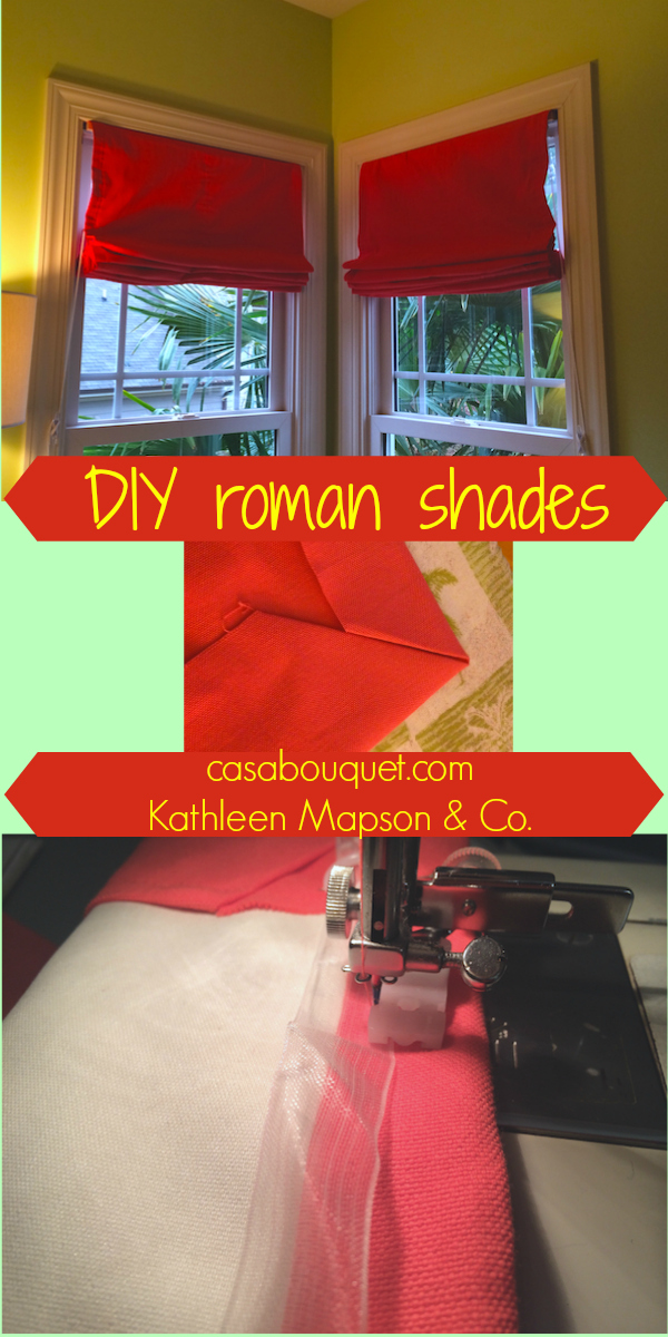 "Roman shades give a crisp tailored look. Add blackout lining for practicality. If you have a sewing machine and would like to try making fabric items for your home, check out my ""Home-making""posts."