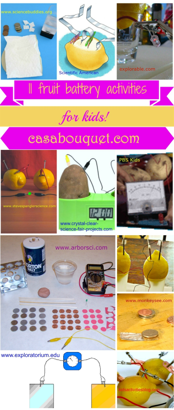 11 fruit battery experiments use a chemical reaction and physics to teach energy, electricity, and battery science. Fruit clocks and voltaic piles included.