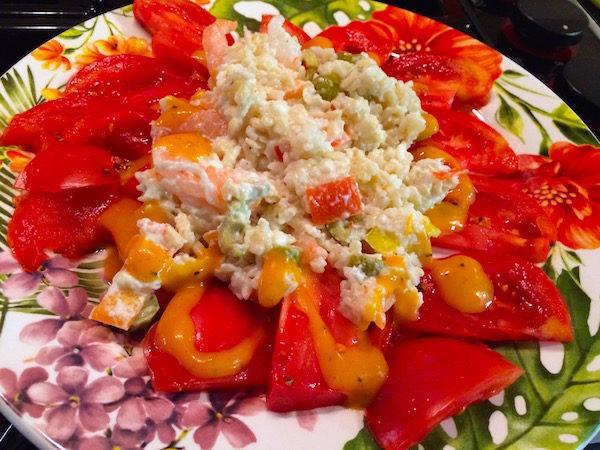 Shrimp and rice salad