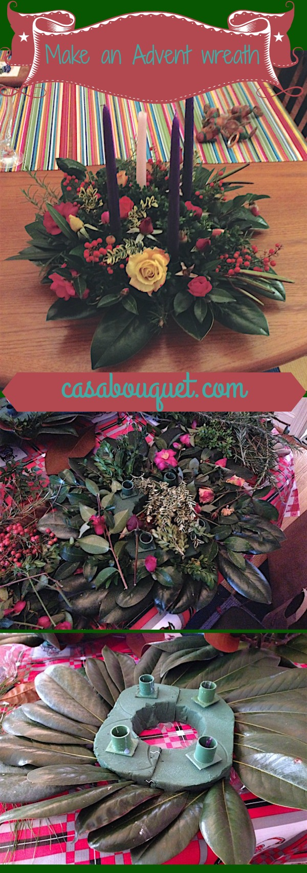 How to make an Advent wreath with seasonal greenery and floral supplies. DIY Advent wreath to add to your Christmas crafts and family activities.