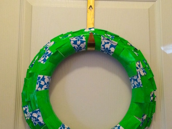 Make a duct tape wreath with a theme