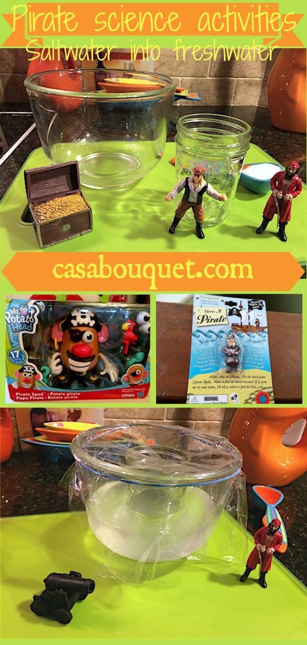 Make saltwater into freshwater introduces distillation and water cycle and is a natural topic in teaching science with a pirate theme.