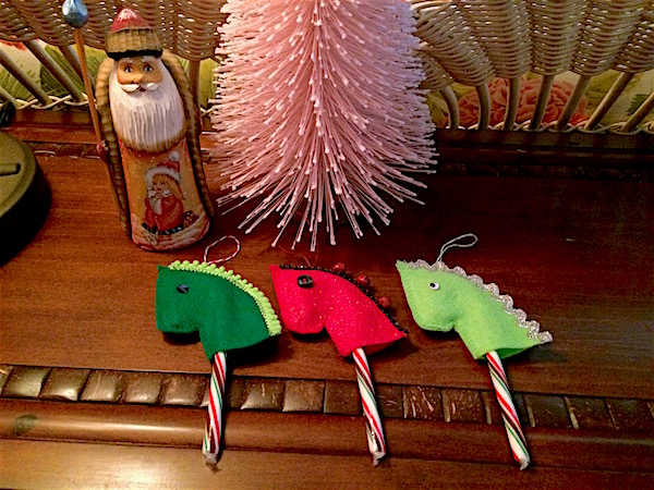 Candy cane Christmas ornament: Hobby horse