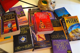 Amelia Peabody mysteries are 19 historical novels about archaeology in Egypt and the Middle East spanning the time frame 1884 to 1923, by Elizabeth Peters.