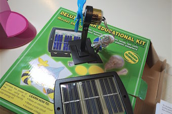 Solar energy activity for learning about renewable energy uses a small solar panel and motor. Explore the angle and shading the panel for effect on output.