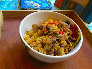 Pasta with ground turkey and veggies makes tasty one bowl meal. Gluten free, dairy free, egg free, soy free. Full of flavor for 421 calories!
