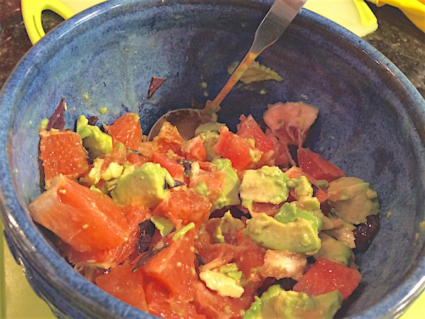 Grilled salmon with avocado and grapefruit salsa