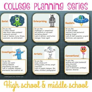 College planning posts for middle and high school students. Download free checklist, cost calculation, and career interest worksheets. Resource links!