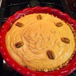 Pumpkin butter pecan frozen pie is a gluten free sweet treat. Cereal crust with pumpkin and butter pecan ice cream filling.