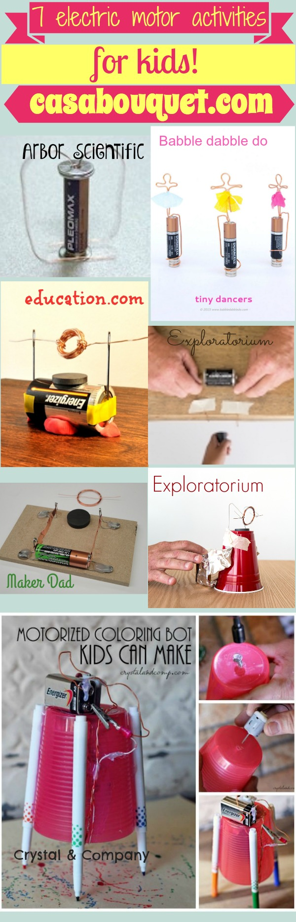 7 electric motor activities use current and magnets to teach energy and electromagnetism. Simple and homopolar motors included.