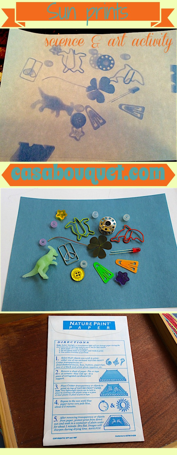 Sun prints can be made with sun sensitive paper for a science and art activity. Choose objects to lay on paper to develop with UV rays from the sun.