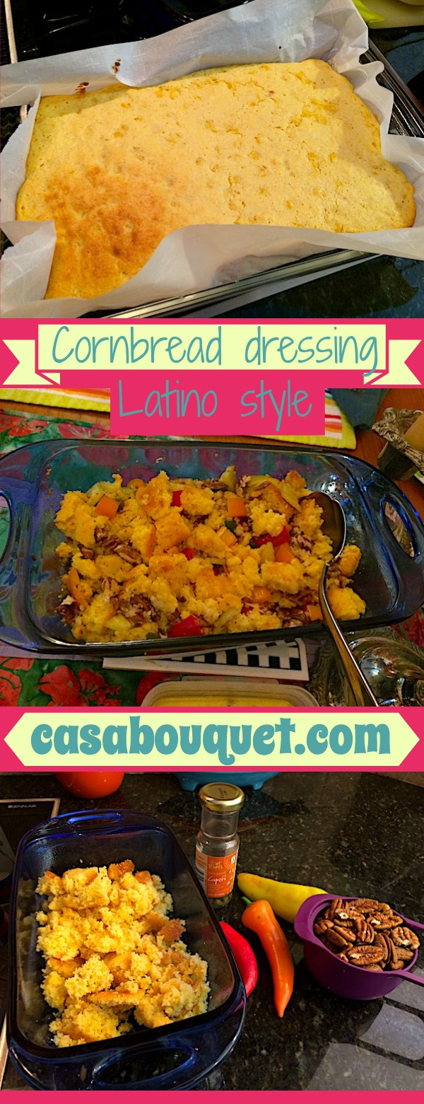 Cornbread dressing Latino style is cooked with jalapeño, pecans, and capers. Start with cornbread made with corn kernels.