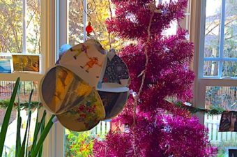 Paper ball ornament instructions remix Christmas cards into an icosahedron ball ornament. Have fun being creative with using the designs!