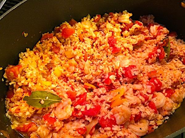 Jambalaya rice and shrimp for Mardi Gras