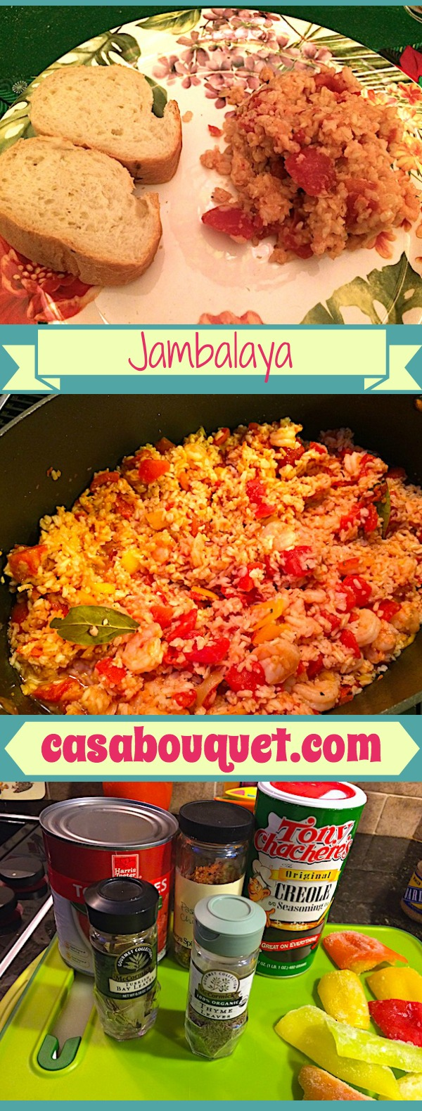 Jambalaya with rice and shrimp is a hearty, one pot Louisiana dish, perfect for Mardi Gras season. Tomatoes, peppers, and Cajun seasonings add flavor.