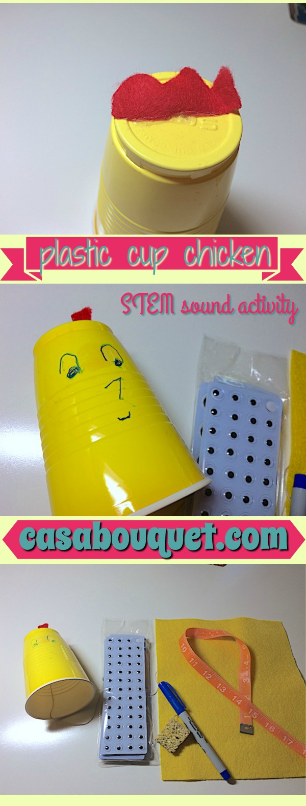 Plastic cup chicken sound activity uses a cup, string, and sponge to make crazy music. Kids learn sound and vibration.