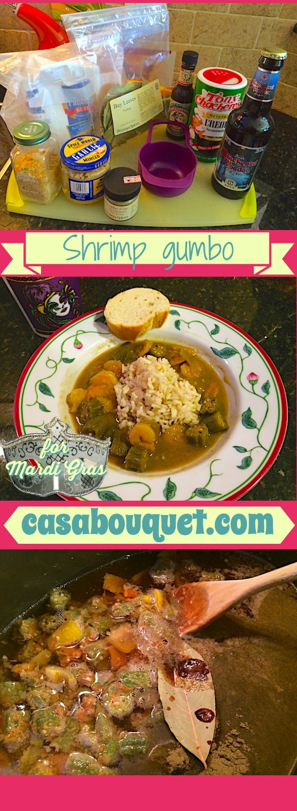 Shrimp gumbo, a Louisiana classic soup served with rice. Shrimp, okra, and gumbo file provide flavor, and you can add more seafood and chicken - tasty!