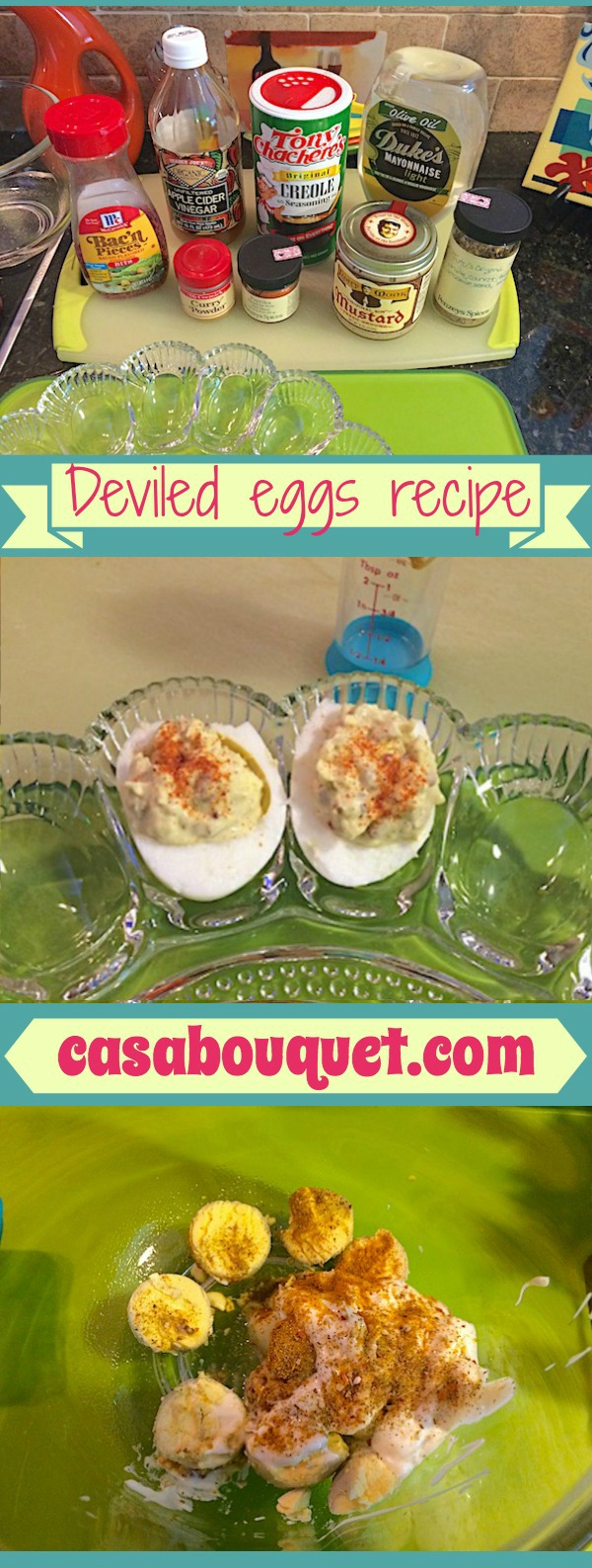 Deviled eggs recipe – perfect, best, classic – tips for boiling eggs and making zesty filling. Use good mustard, curry, bacon bits, and Cajun spice for flavor.