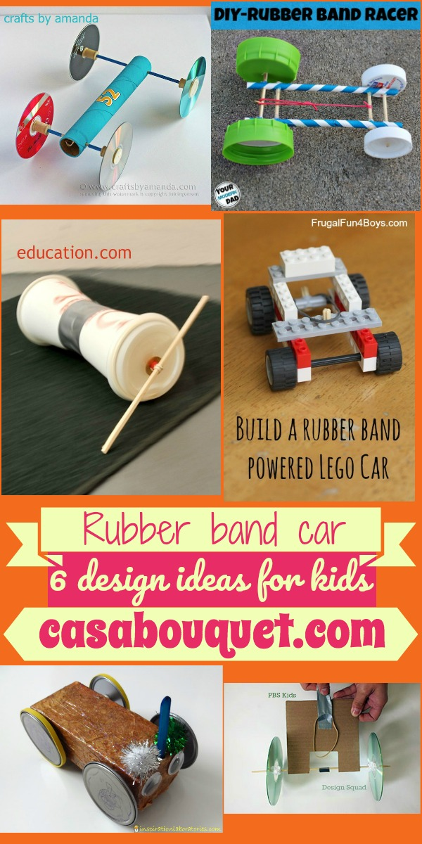 6 rubber band car designs use a body, axle, and wheels to teach potential and kinetic energy. Legos, cardboard, and other household items are used.