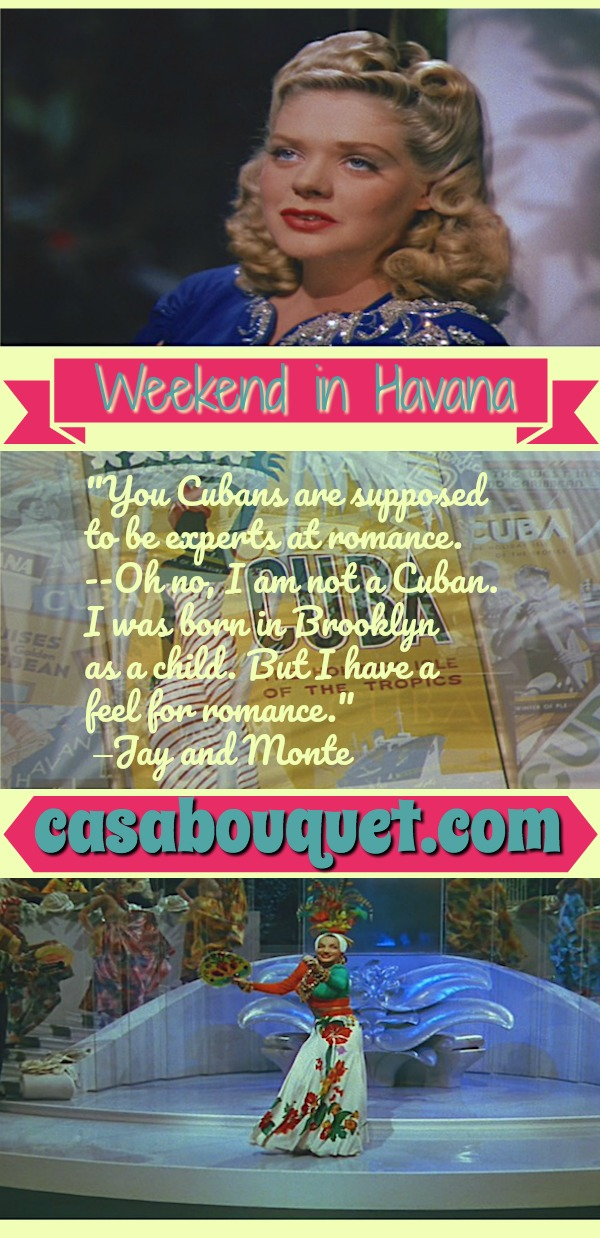 Fun musical romantic comedy in pre-war Havana, Cuba, land of nightclubs, sugar cane fields, and tropical flowers. Lisa's Home Bijou: Weekend in Havana (1941)