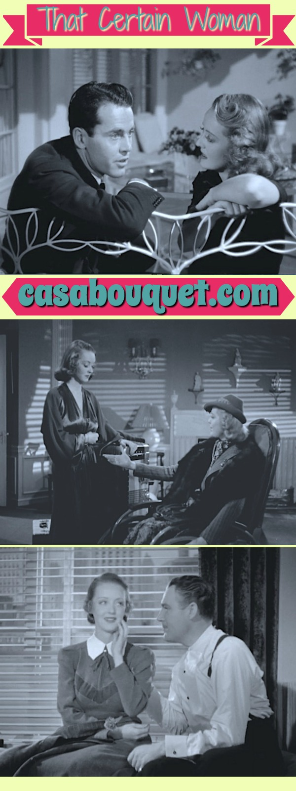 Bette Davis is a St. Valentine's Day Massacre widow trying to live far away from gang life. Henry Fonda is her society lover in this three-hankie drama. Lisa's Home Bijou: That Certain Woman (1937)