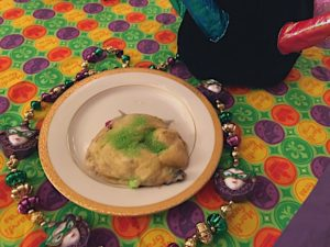 Mini king cakes are a version of a Mardi Gras favorite dessert. Uses crescent rolls and filled with cinnamon sugar, fruit, and cream cheese. Laissez les bon temps rouler!