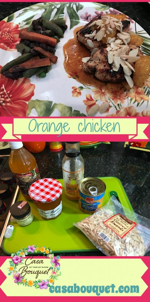 Orange chicken is sweet and savory with mandarin oranges, preserves, and vinegar. Lots of alternatives versions provided. Healthy and very tasty. You can make it as fruity or savory as you wish.