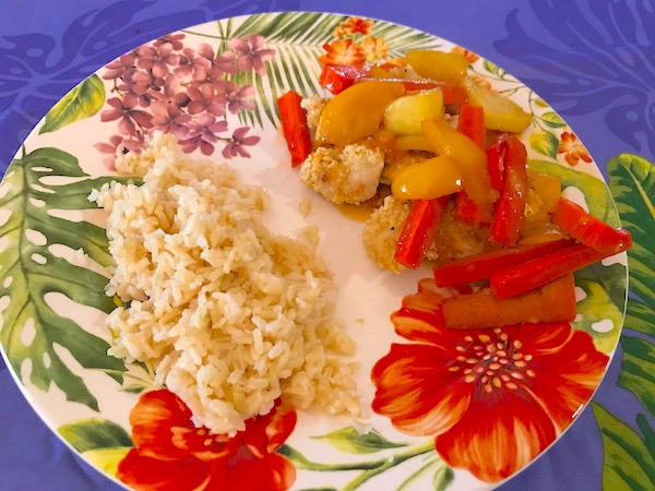 Healthy sweet and sour chicken sauce fruit and veg