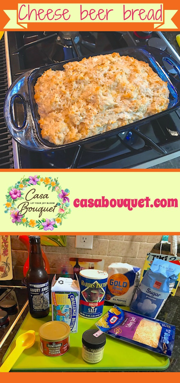 Cheese beer bread with spices uses beer to rise. A quick bread with good texture and moisture. Experiment with spices for flavor.