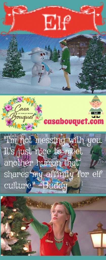 Elf stars Will Ferrell and Zooey Deschanel. A sweet story of a man looking for his birth father in NYC. But he was raised by elves! Lisa's Home Bijou