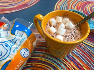 Hot cocoa mix with milk and sugar is a warm, creamy comfort. Just add hot water for a comforting treat. Goes well with coffee, too!