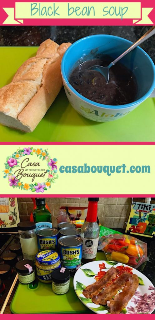 Black bean soup is a Caribbean style recipe with lots of flavor. Peppers, beer, garlic, bacon, and cumin all blended for savory taste.