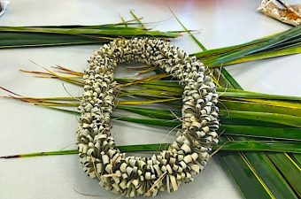 Coconut palm leaf lei is a Hawaiian craft that uses fresh fronds from coconut palm and dries into a beautiful keepsake lei. Alternate grosgrain ribbon version.
