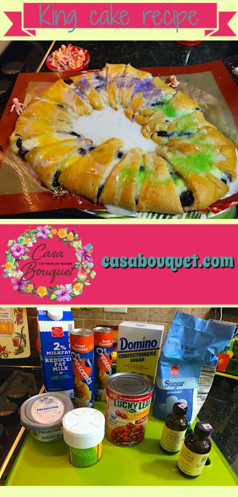 King cake recipe is a version of a Mardi Gras dessert. Crescent rolls are filled with fruit and cream cheese, with sweet almond glaze. Laissez les bon temps rouler!