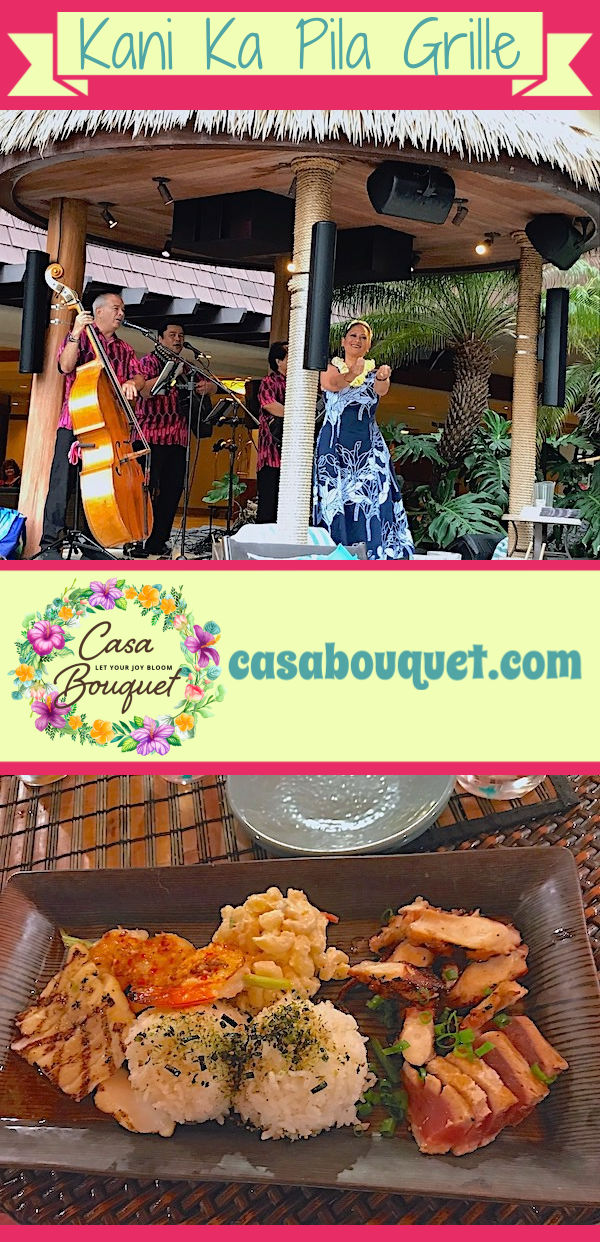 The Kani Ka Pila Grille is a wonderful place to eat and hear Hawaiian music in Waikiki neighborhood of Honolulu, Oahu. Dine under the stars poolside and mingle with locals.