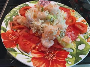 Shrimp cauliflower and tomato salad is a low carb cold salad. Heirloom tomatoes and Spanish olives add flavor. Lean and green included.