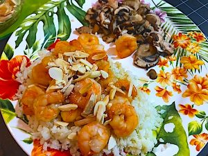 Low carb Thai shrimp is a tasty healthy dinner with Asian flavor. Shrimp and almonds for protein and healthy fat and sugar free ginger sauce for flavor. Lean and green included.