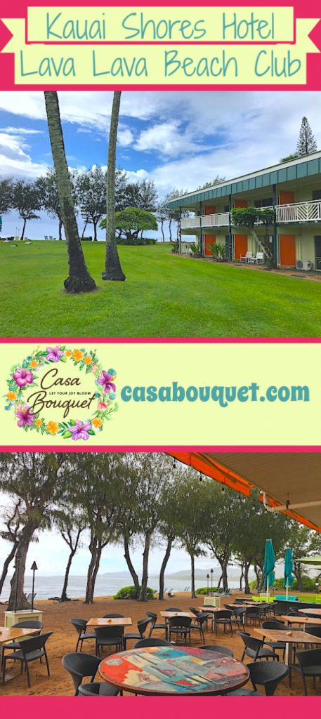 Kauaʻi Shores Hotel on the east side of Kaua'i features lively mid-century decor and Hawaii foods served beachside at Lava Lava Beach Club. Get your toes in the sand with really good food!